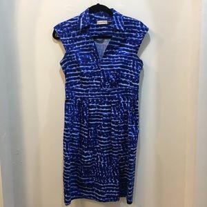 Calvin Klein Blue and White Tie-Dye Striped Dress